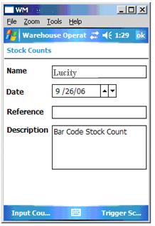 stock counts screen